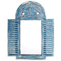 Distressed Blue Shuttered Mirror