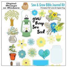 Free Printable matching Bible Journaling Sow 7nGrow Bundle #BibleJOurnaling #freeprintable #FREEBIE #DIYStickers Biblejournalingdigitally #biblejournalingstickers #biblejournalingstamps #digitalscrapbooking #graden #clipart #watercolor papers