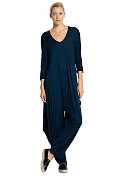 Ladies 3/4 Sleeves Loose Fit Drapery Harem Jumpsuit Love In…