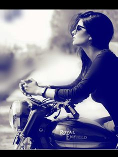Royal enfield world Girl Riding Motorcycle, Biker Girl, Bike Photography, Fashion Photography Poses, Stylish Girls Photos, Stylish Girl Pic, Girl Photo Poses, Girl Poses, Bike Photoshoot