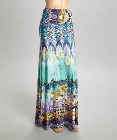Another great find on #zulily! Blue & Lime Floral Mosaic Maxi Skirt #zulilyfinds