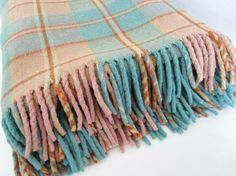 Camp Blanket Wool & Cotton Plaid Turquoise by MyVictorianCottage