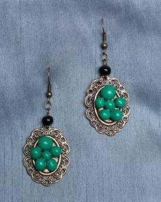 Handmade Polymer Clay Turquoise Beaded Earrings with by JenniferAnnFineArt, $22.00