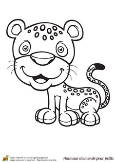 Un petit léopard qui affiche un doux sourire, coloriage pour enfants