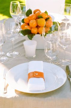 Oranges For A Centerpiece Orange Leather Napkin Ring With Snap Centerpieces Centrepieces