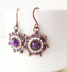 Handmade amethyst and seed bead earrings in frosted by Craftduck