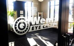 Frosted glass graphics for an optometrist