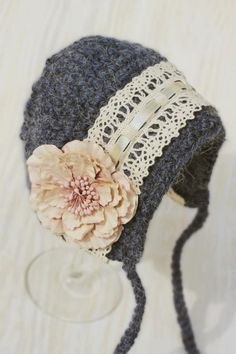 NEW Blue Bonnet with Lace and Flowers Newborn Photography Prop Hand Made by HappyHooksCrochet