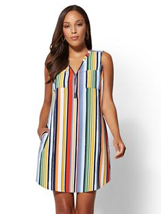 Striped V-Neck Zip-Front Shift Dress - New York & Company Long African Dresses, Indian Dresses, Peach Maxi Dresses, Summer Dresses, Shift Dresses, Simple Dresses, Casual Dresses, Fashion Wear, Fashion Dresses