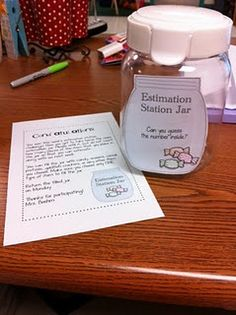 Free download here to set up Estimation Station -Use it to meet benchmark, It's an estimate important skill for 2nd graders to develop, but it's one that benefits revisiting in upper grades as well. Looks like a really fun way to bring that skill to life in my classroom.