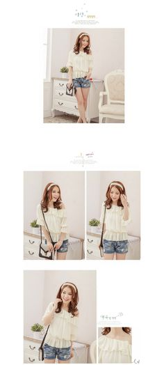 Sweet Style Ruffle Collar Smocked Waist Chiffon Top For Women, Shop online for $11.90 Cheap Basic Tops code 699046 - Eastclothes.com