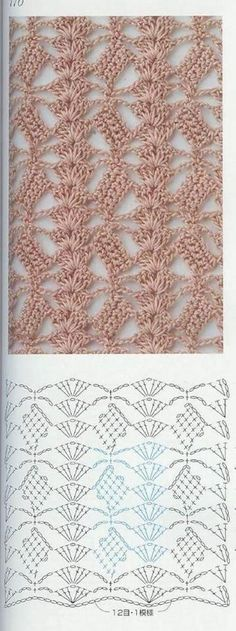 Crochet lace ground stitch with diagram ~~ oblique blocks and shell columns ~~ from Crochet patterns book 300 Crochet Stitches Patterns, Crochet Designs, Stitch Patterns, Knitting Patterns, Crochet Diy, Love Crochet, Irish Crochet, Crochet Diagram, Crochet Chart