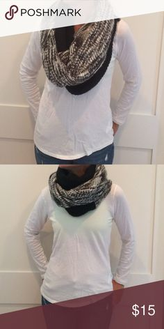 Michael Stars  acrylic infinity scarf Black, white and grey infinity scarf. First pic is doubled and second pic is tripled. Lots of options. Super warm! Michael Stars Accessories Scarves & Wraps