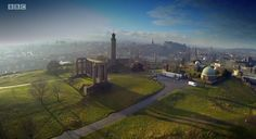 "Still from a BBC Scotland documentary from 2015, ""How Scotland Works"". This episode was  called ""Brand Scotland"". The picture is a fantastic aerial view over Calton Hill"