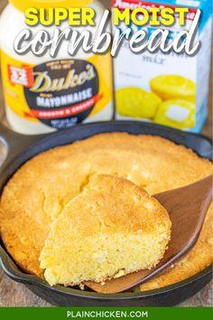 Mayonnaise, Plain Chicken Recipe, Moist Cornbread, Cornbread Recipes, Corn Muffin Mix, Biscuit Bread, Chicken Drumstick Recipes, Fresh Bread, Slow Cooker Soup