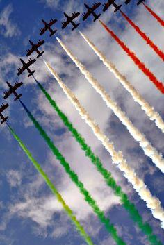 Italy's Frecce Tricolori fly over Rome celebrating on Republic Day, 2 June 2010.