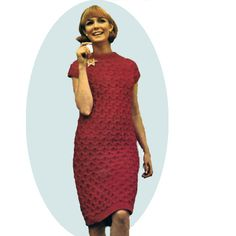 Vintage Dress Knitting Pattern - A straight bulky design with high neckline and cap sleeves.   A comfortable wardrobe stape  l  This pattern is available in PDF format, at Vintage Knit Crochet Pattern Shop
