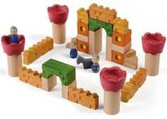 Plan Toys wooden Blocks with Castle theme - 35 pieces for imaginative play Wooden Castle, Toy Castle, Baby Nursery Furniture, Nursery Room Decor, Stacking Blocks, Plan Toys, Green Toys, Decoration Design, Imaginative Play