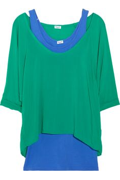Splendid Layered cotton-blend jersey T-shirt and tank. Wearing bold color is chic and easy with Splendid's cotton-blend jersey tank and dolman-sleeved T-shirt set. Partner it with crisp white jeans for a contemporary casual look. Jungle-green and blue cotton-blend jersey. Three-quarter length dolman sleeves, rolled cuffs, dipped back hem. Longer tank, can be worn separately. Slips on 90% supima cotton, 10% spandex