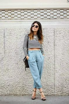Relaxed spring outfit look heels striped crop top fashion style women casual chic