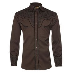 Scully Men s Long Sleeve Embroidered Western Shirt Camisa Vaquera e20ad1ec4e9fb
