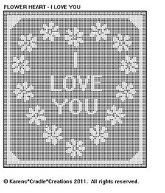 Flower Heart I Love You Filet Crochet Pattern | eBay