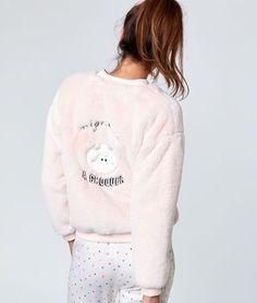 Bomber fausse fourrure détail monstre - Vestes - Homewear - Modèles - Nuit #Homewear Cozy Pajamas, Pyjamas, Cute Pijamas, Cute Pjs, Bikini Underwear, Pajamas Women, Nightwear, Pajama Set, Lounge Wear