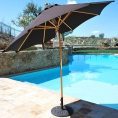 This classic 9' Sunbrella Easy Tilt Wood Market Umbrella features a new rotational tilt. Quad Pulley Rope system provides ease of use. Quality plus more features at $329.00 sale price.  Product ID : GAL-139-239-SB #PatioUmbrella