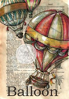 6 x 9 Print of Original, Mixed Media Drawing on Distressed, Dictionary Page This drawing of hot air balloons is drawn in sepia ink and created