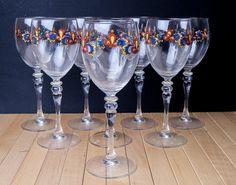 Porsgrund Farmers Rose Water Wine Goblet Glass Stemware  Norwegian Lot 8 Glasses