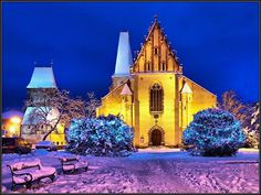 Rakovník at winter night (Central Bohemia), Czechia Heart Of Europe, Winter Night, Notre Dame, Countryside, Mansions, Landscape, Architecture, House Styles, City