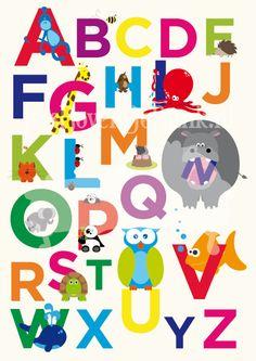 Een dierenalfabet! Fris, vrolijk en leerzaam canvasdoek voor in de hippe kinderkamer!