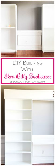 Home - DIY Built-ins with Ikea Billy Bookcases, DIY Built-, Built-ins, Ikea Hack, Ikea Billy Bookcase Hack