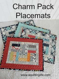 Charm Pack Patchwork Placemats Tutorial | A Quilting Life - a quilt blog--These placemats are perfect in any fabrics and especially fun in holiday fabrics...and best of all...you can make 6 placemats with just one charm pack!