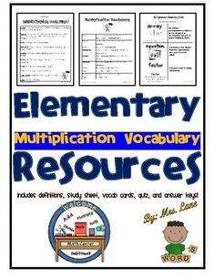 Are you looking for vocabulary words to incorporate into your multiplication unit? Look no further!   -VOCABULARY WORDS ON QUIZ: Array, Equation, Factor, Multiplication, Multiplier, Multiplicand, Product, Times, Times Tables, and Twice.  ------------------------------------------------------------------------------------------------  INCLUDES:  -Vocabulary Definitions (2 Versions: Simplified and Advanced) -Vocabulary Study Sheet -Vocabulary Flashcards -Vocabulary Quiz -Answer ...