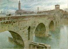 Ponte Pietra, Verona: 1896 by Albert Goodwin (English 1845-1932)
