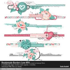 Readymade Borders: Love No. 04 border strip embellishments for shabby chic style in scrapbooking #designerdigitals #readymades