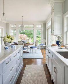 Kitchen with Gray Geometric Runner