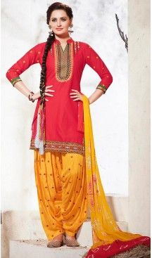 Crimson Color Cotton Punjabi Style Patiyala Dresses   FH471673155 #Heenastyle #Punjabisuit #Salwarsuit, #SalwarKameez, #Dreses, #Patiyala
