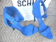Schutz 'YTAKI' Blue Suede Ankle Cuff Sandals 03