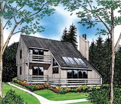 Very cool and interesting floor plan ideas | Contemporary Elevation of Plan 26112