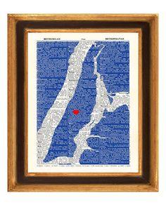 Manhattan Map Art Print Upper East Side Heart by PrintLand on Etsy