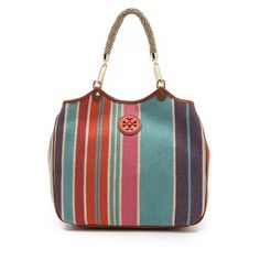 Tory Burch Baja Stripe Channing Tote found on Polyvore