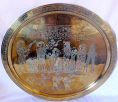 Large Engraved Brass Tray/Wall Art Ancient Egyptian Revival Figures 23.5″ Diameter @thewildpetunia