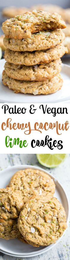 These paleo and vegan lime coconut cookies are packed with flavor super chewy sweet and perfect for spring and summer gatherings! They're family approved gluten-free dairy-free egg free and seriously addicting. Paleo Cookies, Coconut Cookies, Paleo Treats, Paleo Vegan, Vegan Recipes, Cooking Recipes, Vegaterian Recipes, Paleo Life, Paleo Dessert