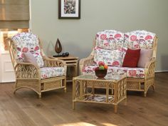 Oakham Chair, Sofa, Side & Coffee Table, Light Natural Wash, Cushions: Hemlock Ruby Scatters: Lavender & Terracotta