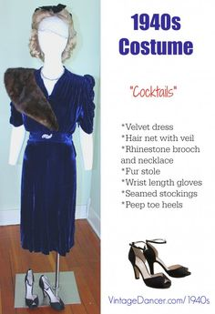 Vintage 1940s velevt cocktail dress with fur stole, rhinestone necklace and brooch. See more at vintagedancer.com