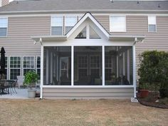 Screened porch with shed roof, with modified gable