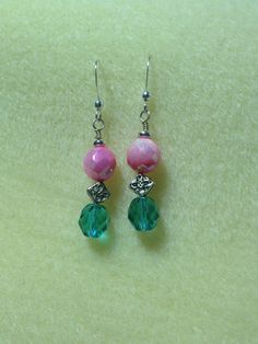 Pink and blue earrings.
