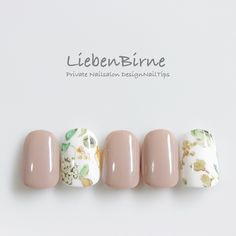 Natural elegant beige rose white with pastel delicate flowers nail art for spring summer 2017